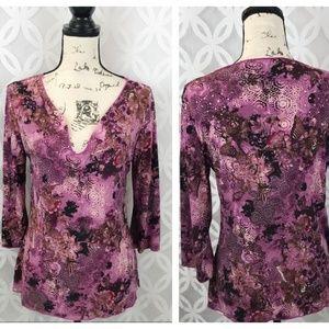 INC International Concept Lace Floral Blouse NWT